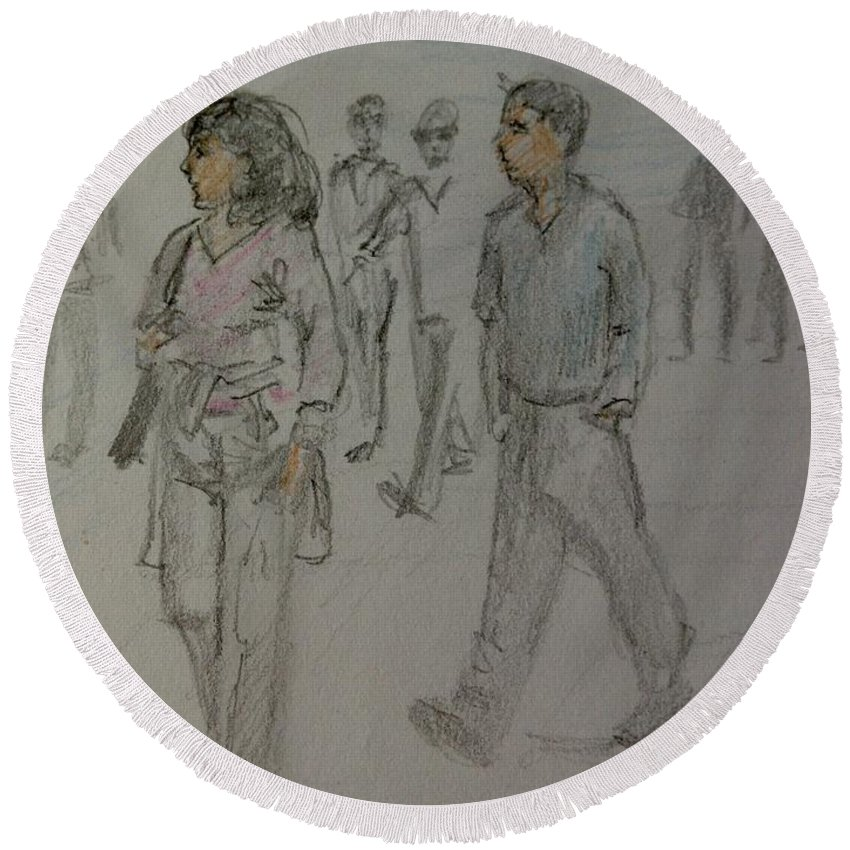 The Strand Round Beach Towel featuring the drawing Walking Along The Strand by Joan-Violet Stretch