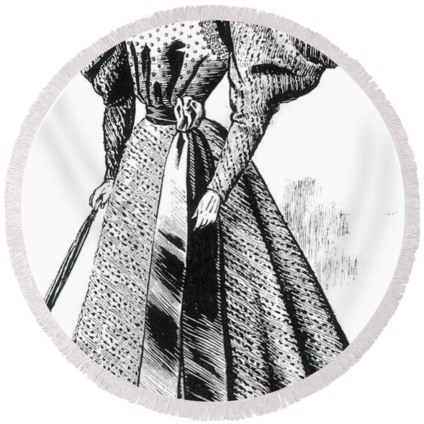 Fashion Round Beach Towel featuring the photograph Walking Dress, 1890s by Science Source