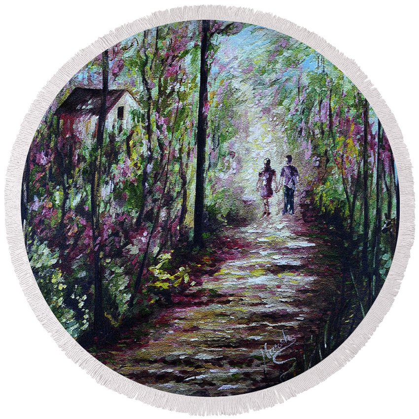 Landscape Round Beach Towel featuring the painting Walking In The Light by Harsh Malik