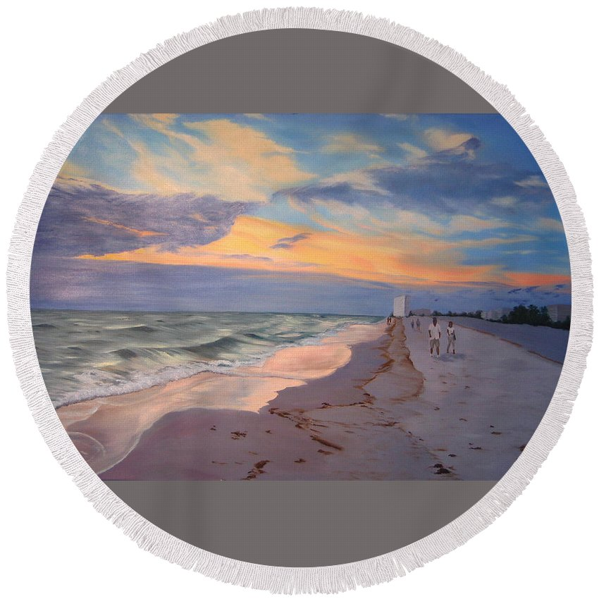Seascape Round Beach Towel featuring the painting Walking on the Beach at Sunset by Lea Novak