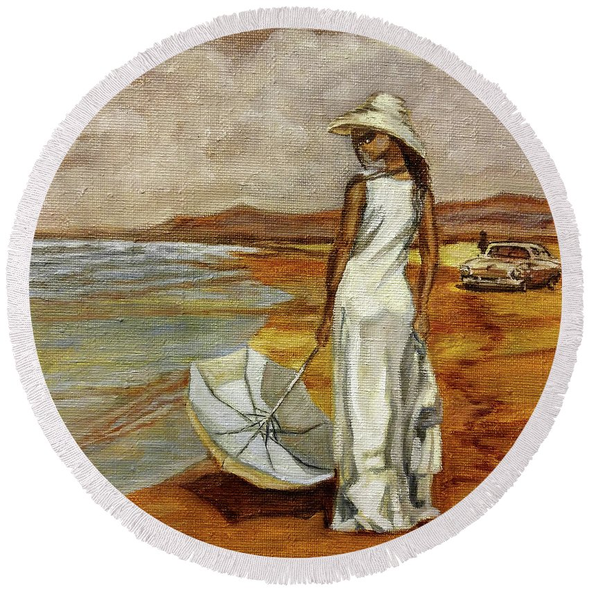 Sea Round Beach Towel featuring the painting Walking On The Beach by Natalie Maro