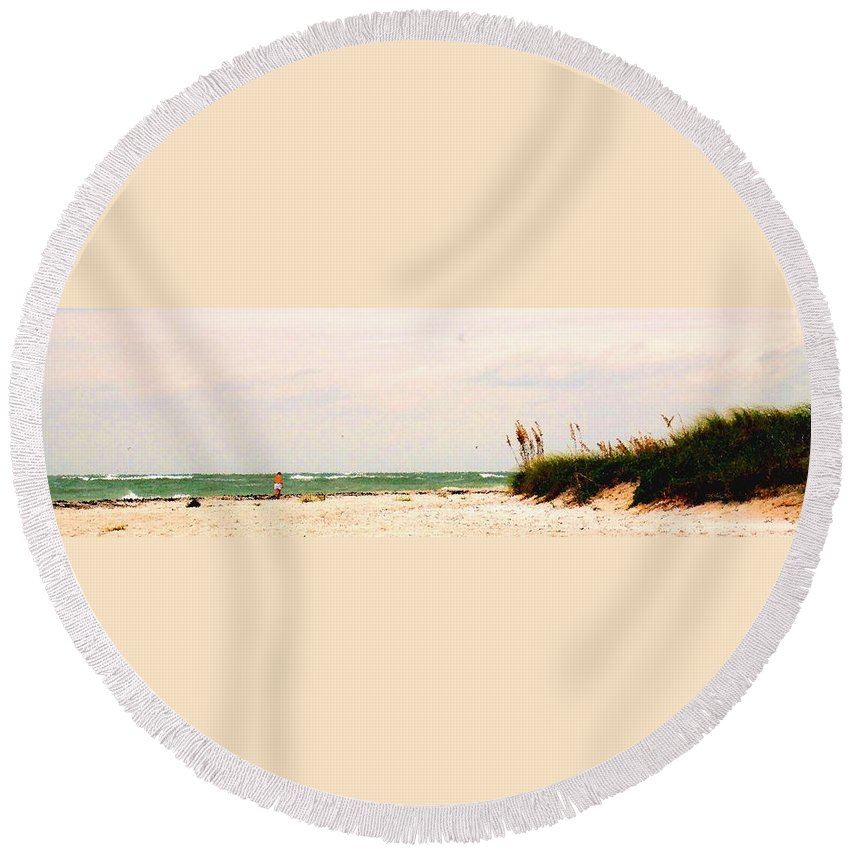 Florida Round Beach Towel featuring the photograph Walking The Beach by Ian MacDonald