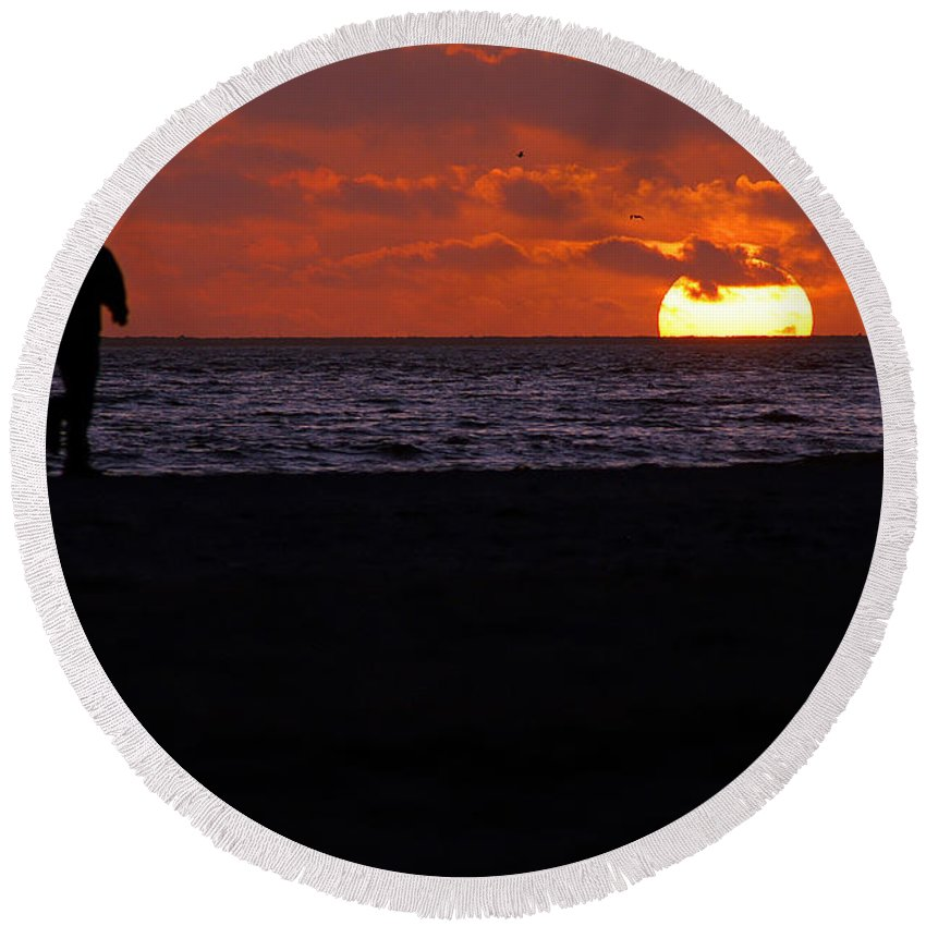Clay Round Beach Towel featuring the photograph Walking The Dog by Clayton Bruster