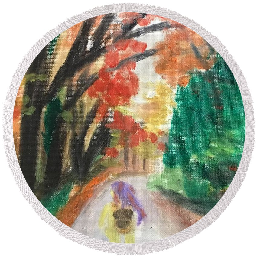 Fall Round Beach Towel featuring the painting Walking Through The Woods by Nicole Poirier