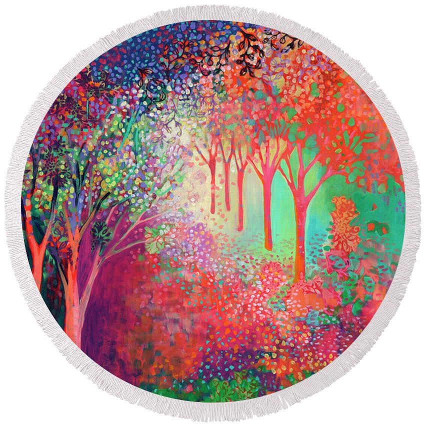 Tree Round Beach Towel featuring the painting Walking Toward The Light by Jennifer Lommers