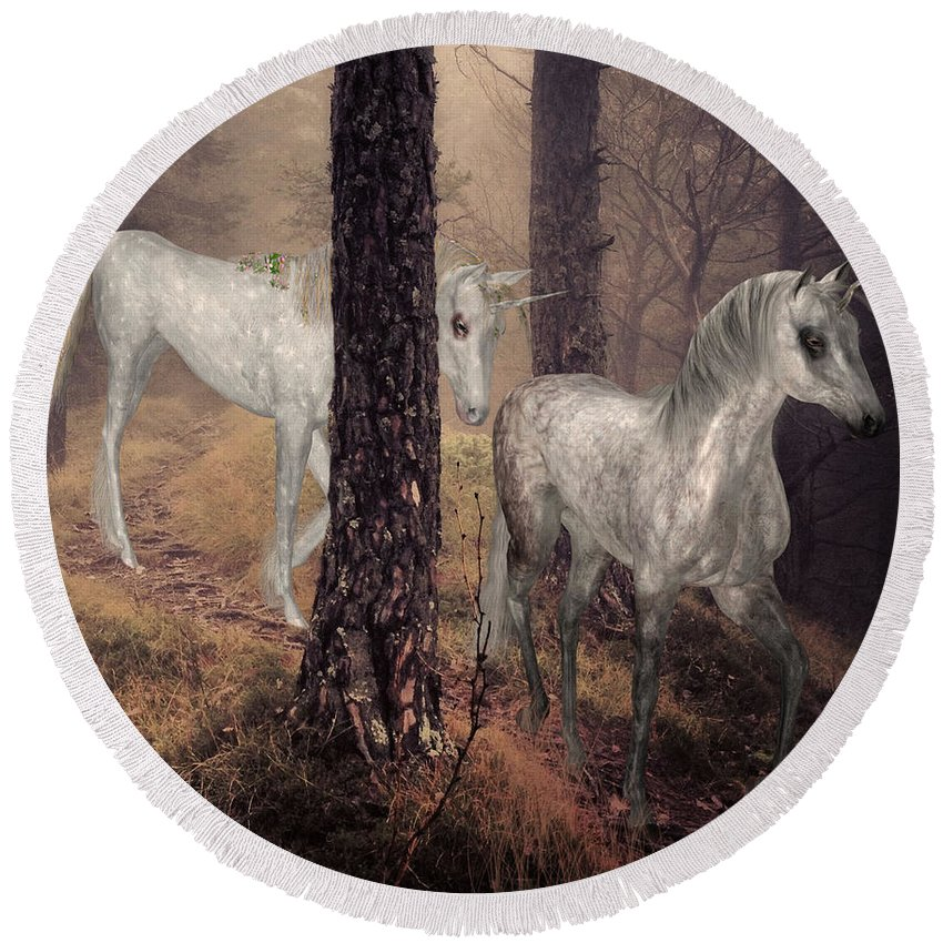 Unicorn Round Beach Towel featuring the digital art Walking Unicorns by Solomon Barroa