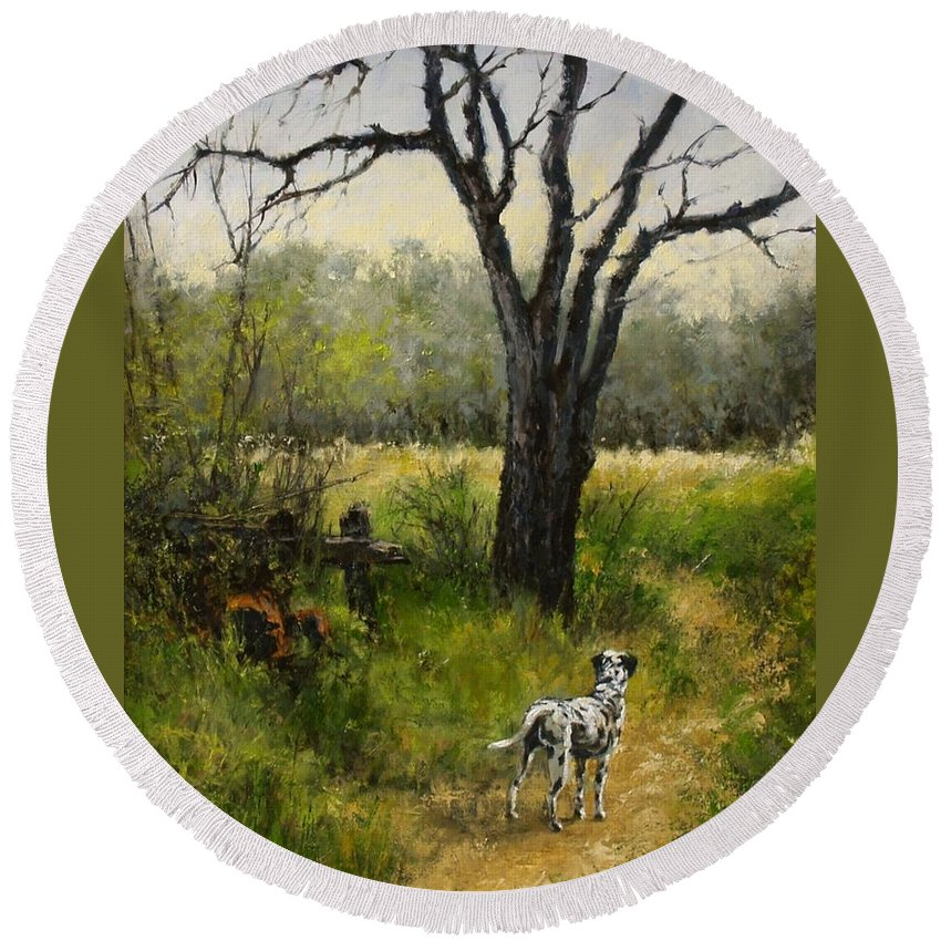 Painting Round Beach Towel featuring the painting Walking With My Farley by Jim Gola