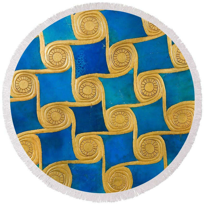 Blue Round Beach Towel featuring the painting Wall Decoration From The Temple Of Amun At Malqata by Egyptian School