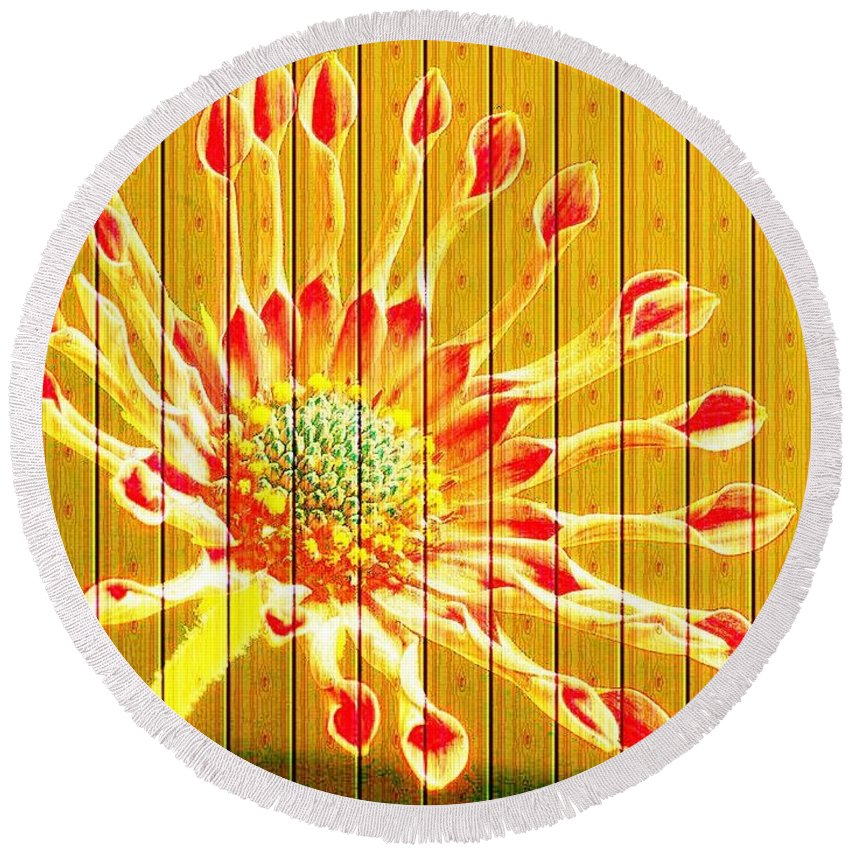 Flower Round Beach Towel featuring the photograph Wall Flower by Tim Allen