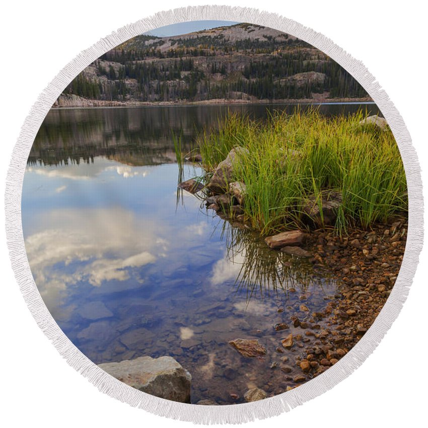 Wall Lake Round Beach Towel featuring the photograph Wall Lake by Chad Dutson