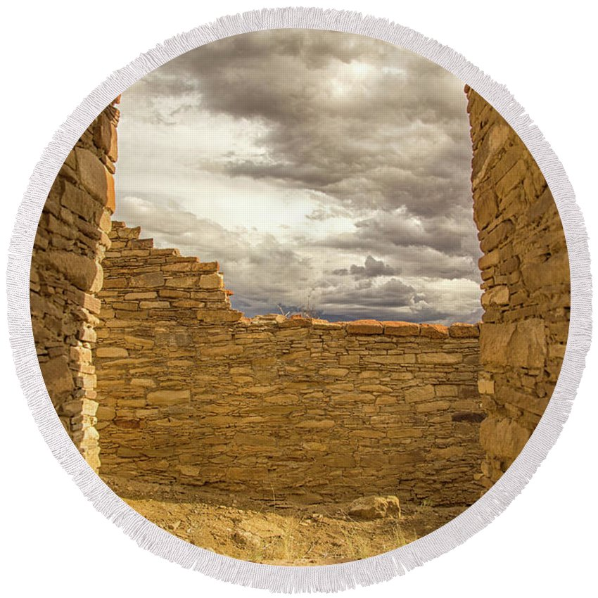 Chaco Canyon Round Beach Towel featuring the photograph Walls Of Time by Kunal Mehra