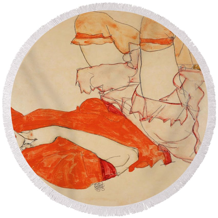 Egon Schiele Round Beach Towel featuring the drawing Wally In Red Blouse With Raised Knees by Egon Schiele