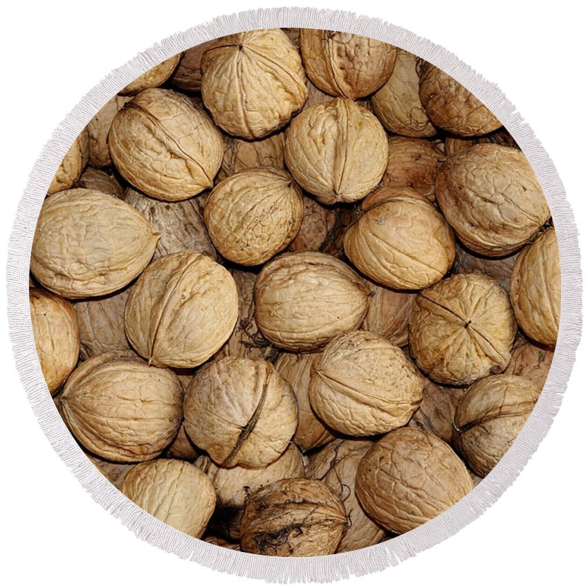 Autumn Round Beach Towel featuring the photograph Walnuts by Michal Boubin
