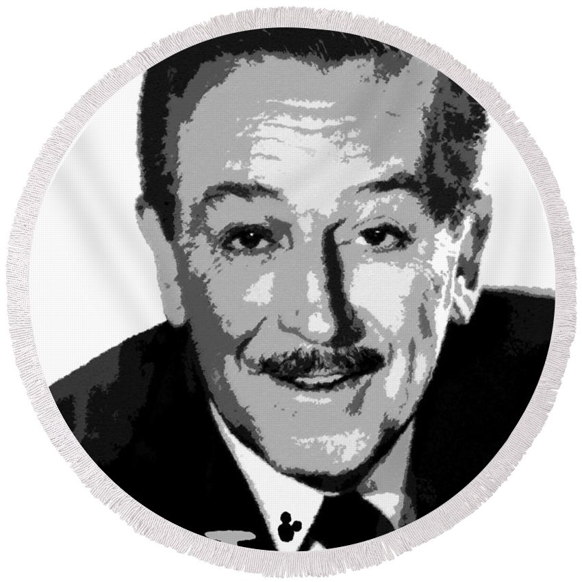 Art Round Beach Towel featuring the painting Walt by David Lee Thompson