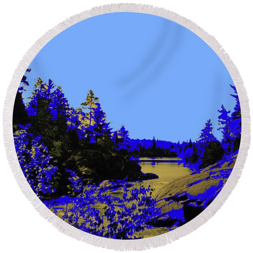 Northern Round Beach Towel featuring the photograph Wanapitae River Morning by Ian MacDonald