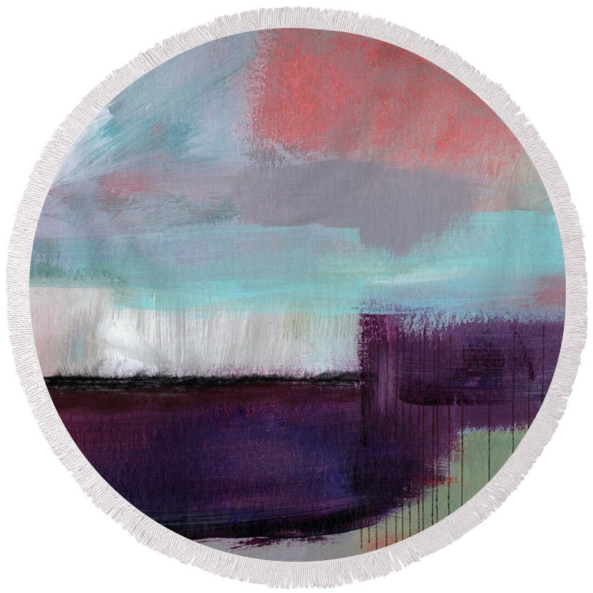 Purple Round Beach Towel featuring the painting Wanderlust 22- Art By Linda Woods by Linda Woods