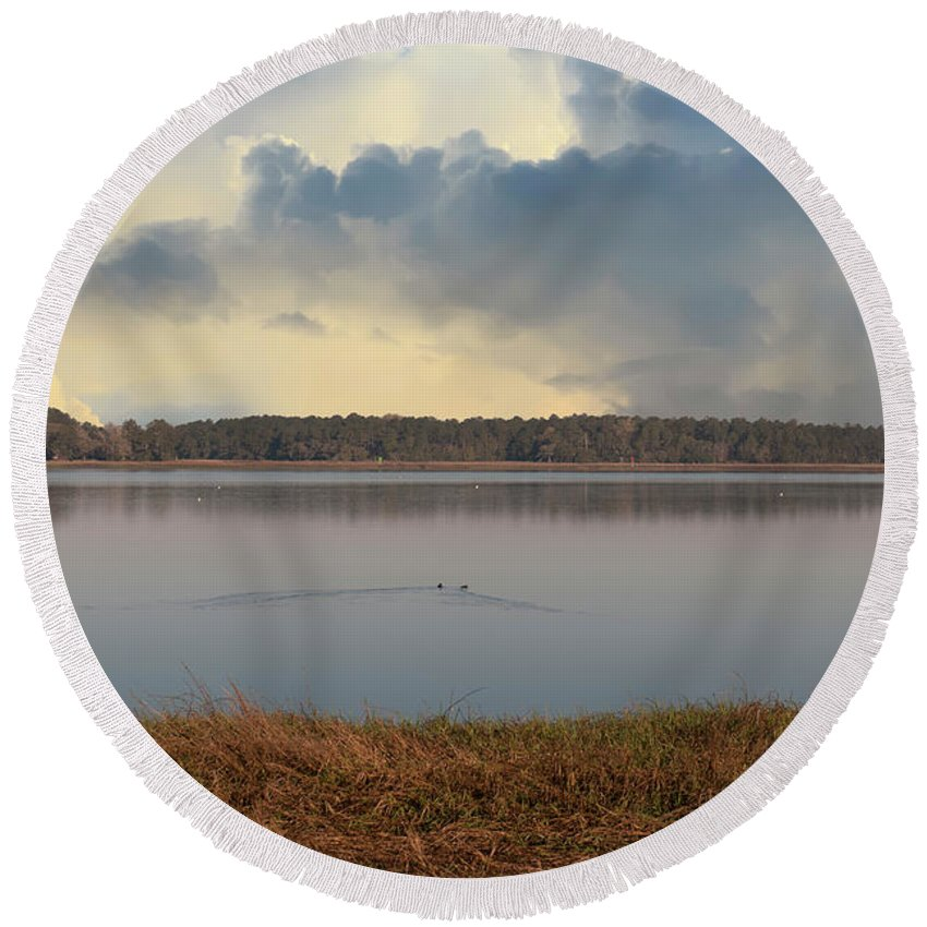 Wando River Round Beach Towel featuring the photograph Wando River Landscape by Dale Powell