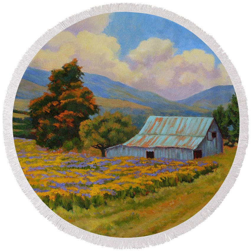 Landscape Round Beach Towel featuring the painting Waning Summer by Keith Burgess