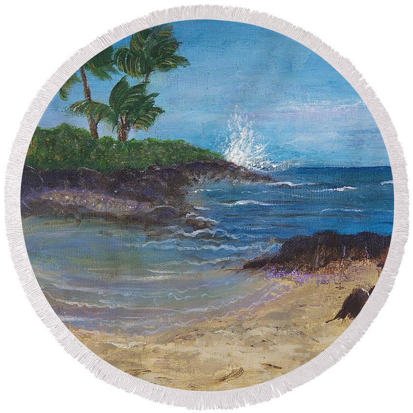 Hawaii Round Beach Towel featuring the painting Wanna Go by Margaret Bobb