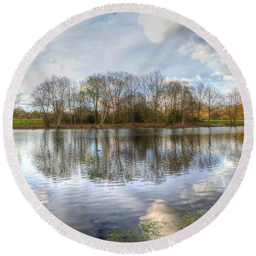 Trees Round Beach Towel featuring the photograph Wanstead Park Reflections by Vicki Spindler