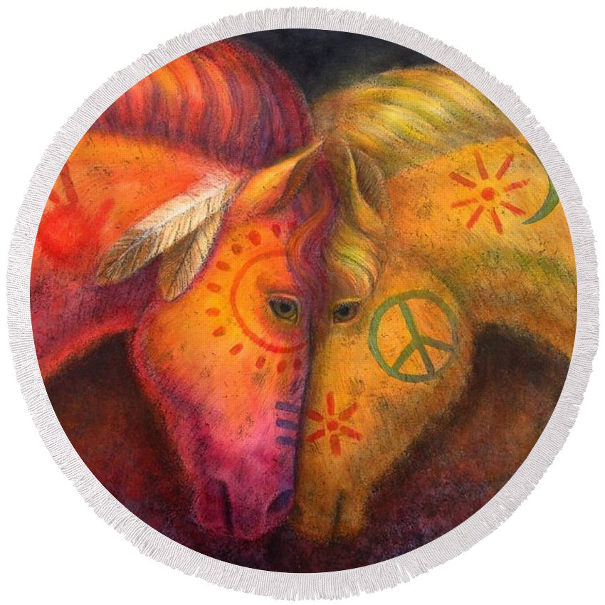 Horse Round Beach Towel featuring the painting War Horse And Peace Horse by Sue Halstenberg