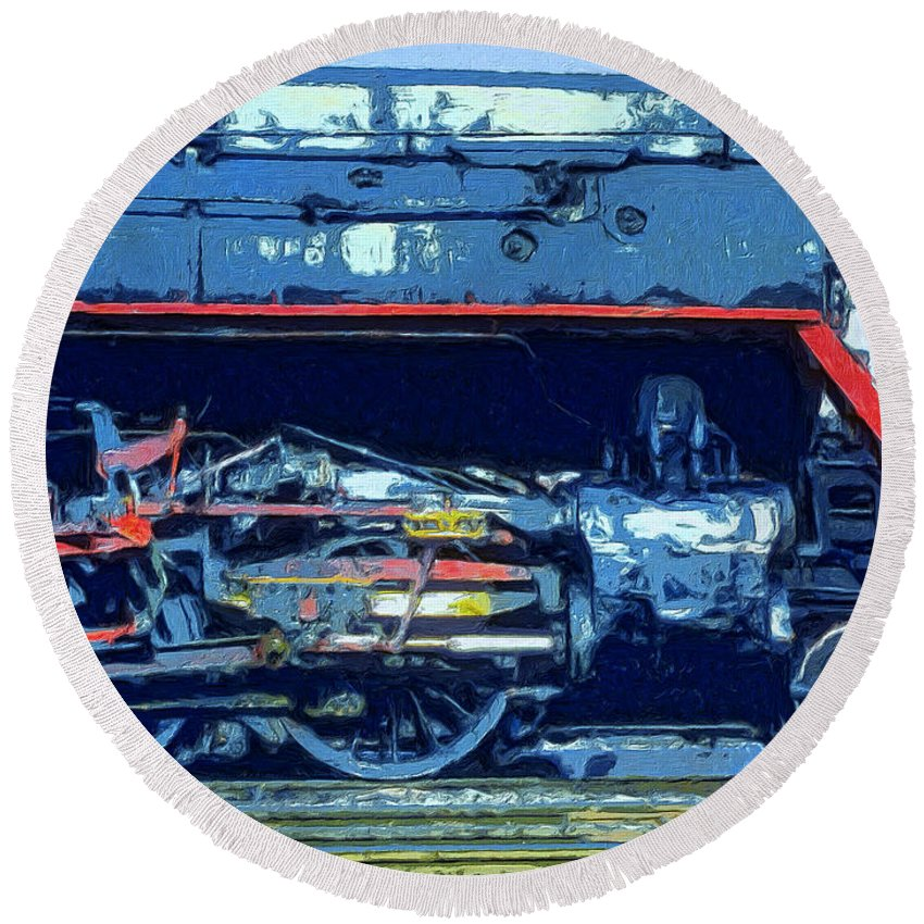 Locomotive Round Beach Towel featuring the painting War Horse by Dominic Piperata