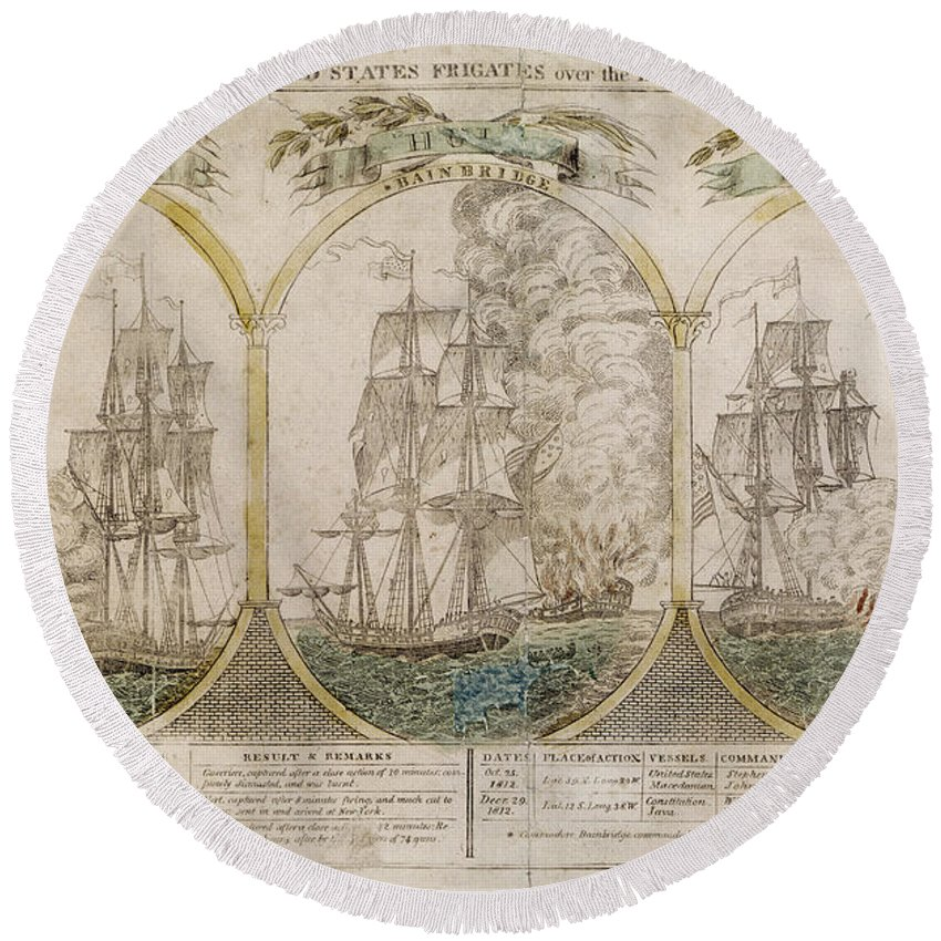 1812 Round Beach Towel featuring the photograph War Of 1812: Victories by Granger