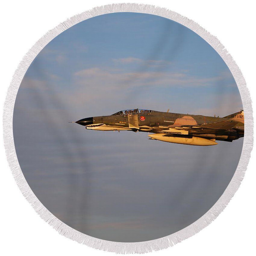 Eaa Oshkosh Round Beach Towel featuring the photograph Warbird 2 by Debbie Nobile