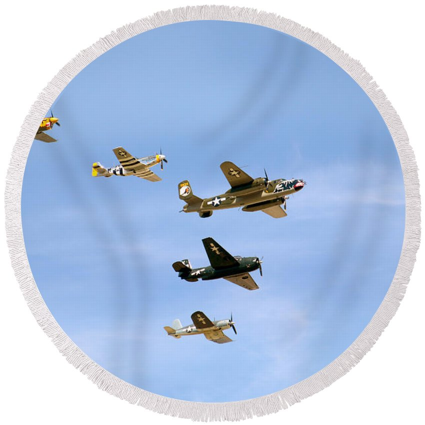 Eaa Oshkosh 2015 Round Beach Towel featuring the photograph Warbirds by Debbie Nobile