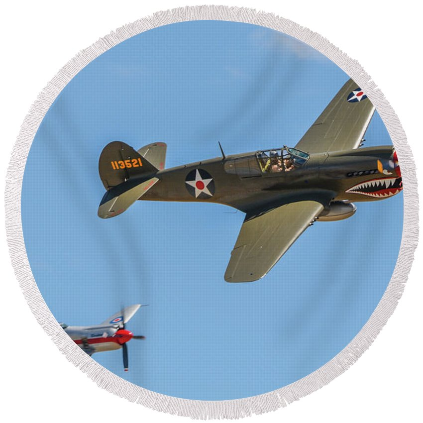 California Round Beach Towel featuring the photograph Warhawk And Sea Fury by Tommy Anderson