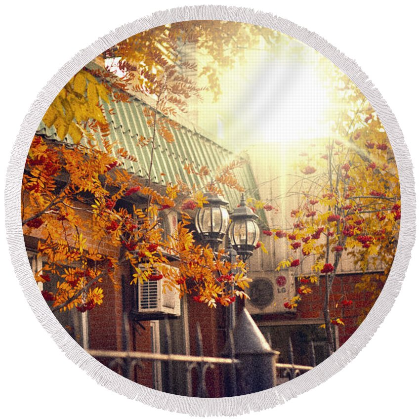Autumn Round Beach Towel featuring the photograph Warm Autumn City. Warm Colors And A Large Film Grain. by Evgeniy Belyaev