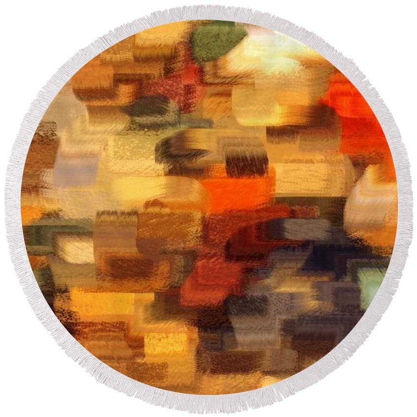Abstract Round Beach Towel featuring the photograph Warm Colors Abstract by Carol Groenen
