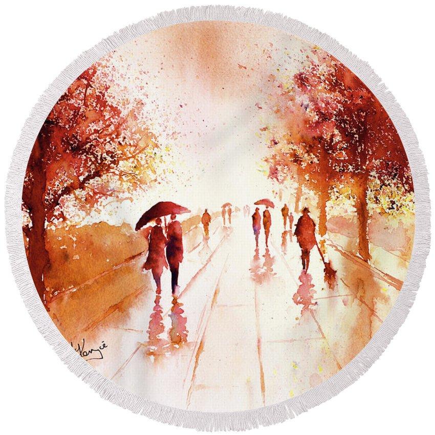 Rain Round Beach Towel featuring the painting Warm Rain by Carrie McKenzie