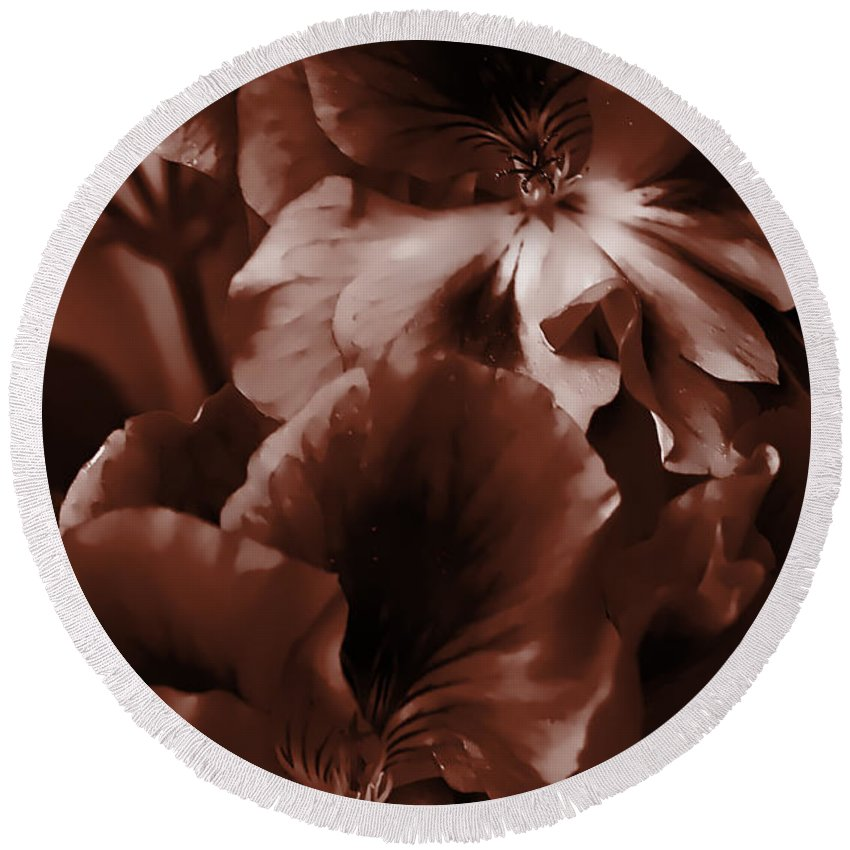 Clay Round Beach Towel featuring the photograph Warm Tone Monochrome Floral Art by Clayton Bruster
