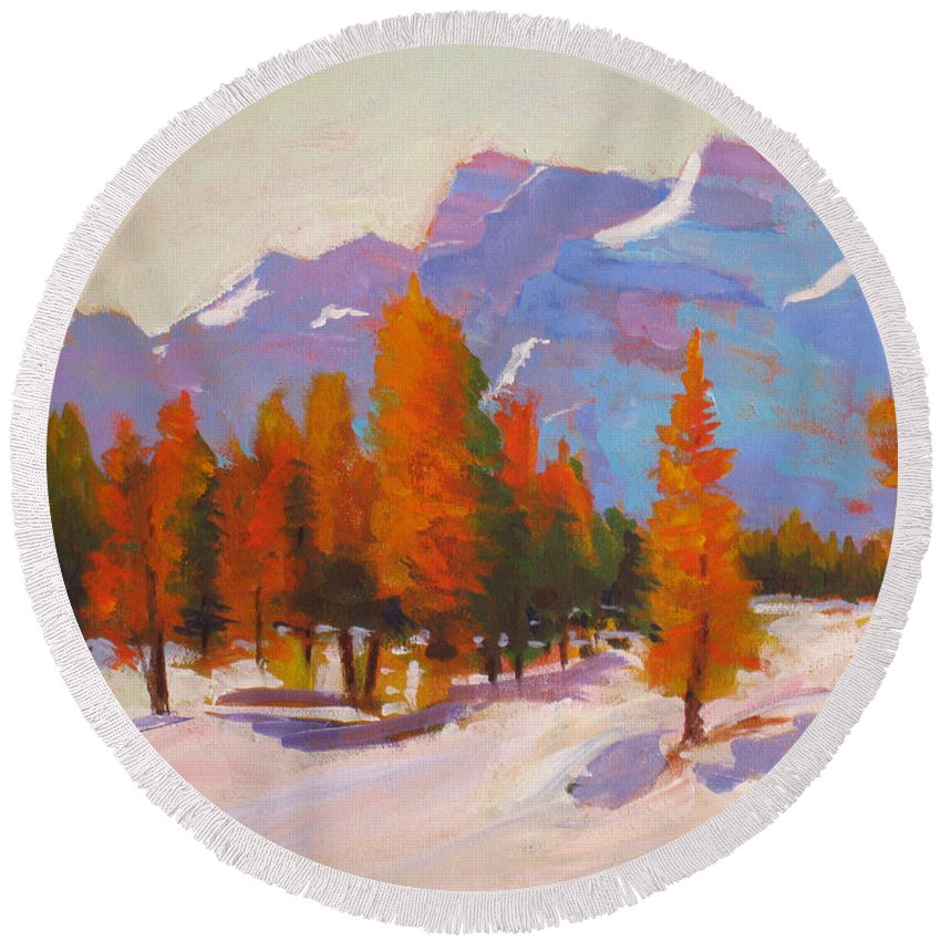 Mountains Round Beach Towel featuring the painting Warming The Winter by Mohamed Hirji