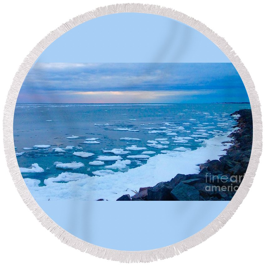 Lake Ontario Melting Round Beach Towel featuring the photograph Warming Waters 2 by Chris Dippel