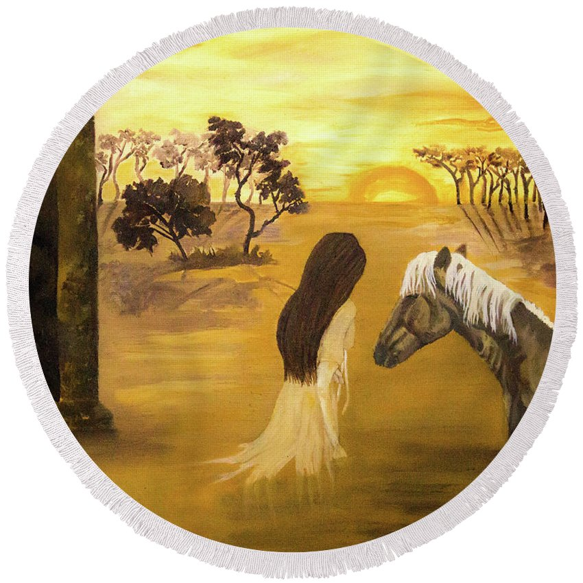 Horse Round Beach Towel featuring the painting Warmth Of Contentment by Fallon Franzen