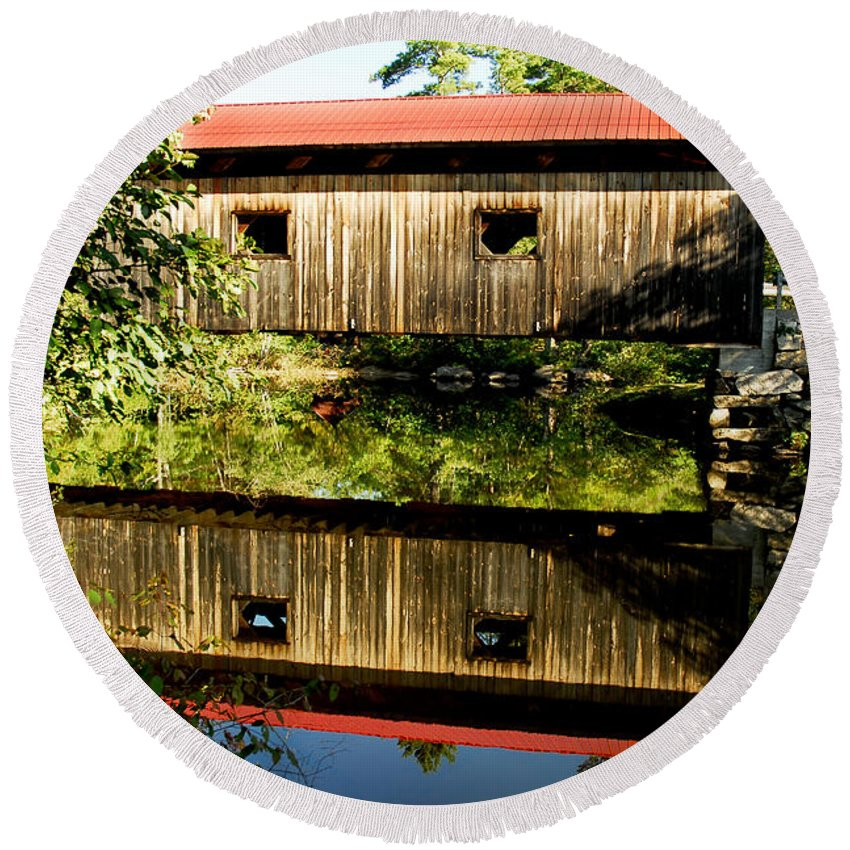 Covered Bridge Round Beach Towel featuring the photograph Warner Covered Bridge by Greg Fortier