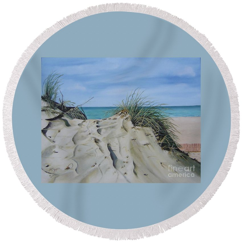 Lake Round Beach Towel featuring the painting Warren Dunes by Mary Rogers