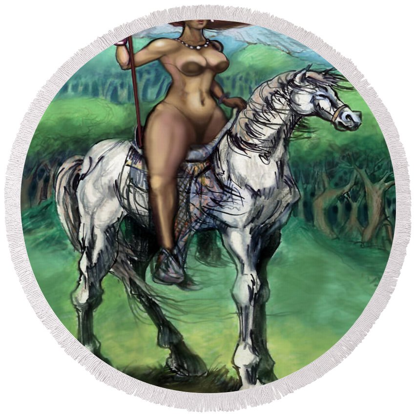 Warrior Round Beach Towel featuring the painting Warrior Maiden by Kevin Middleton
