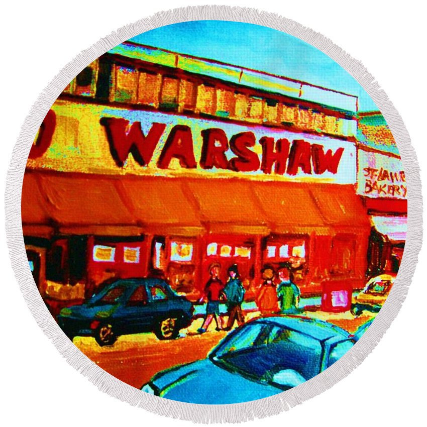 Warshaws Fruit Store Round Beach Towel featuring the painting Warshaws Fruitstore On Main Street by Carole Spandau