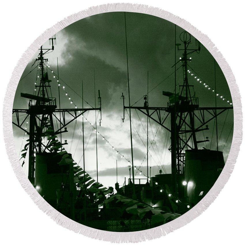 Antenna Round Beach Towel featuring the photograph Warships At Twilight by Gaspar Avila