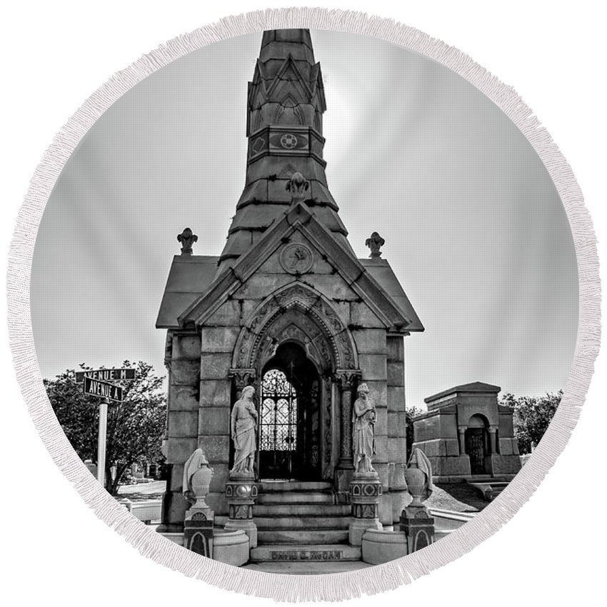 Metairie Cemetery Round Beach Towel featuring the photograph Was On Avenues Am by Steve Harrington