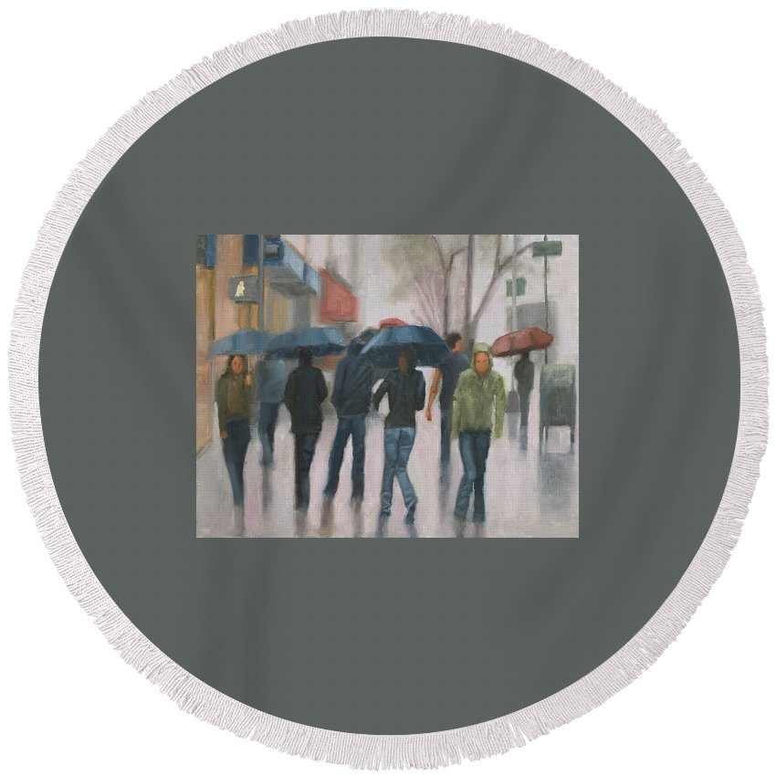 Rain Round Beach Towel featuring the painting Wash Out by Tate Hamilton