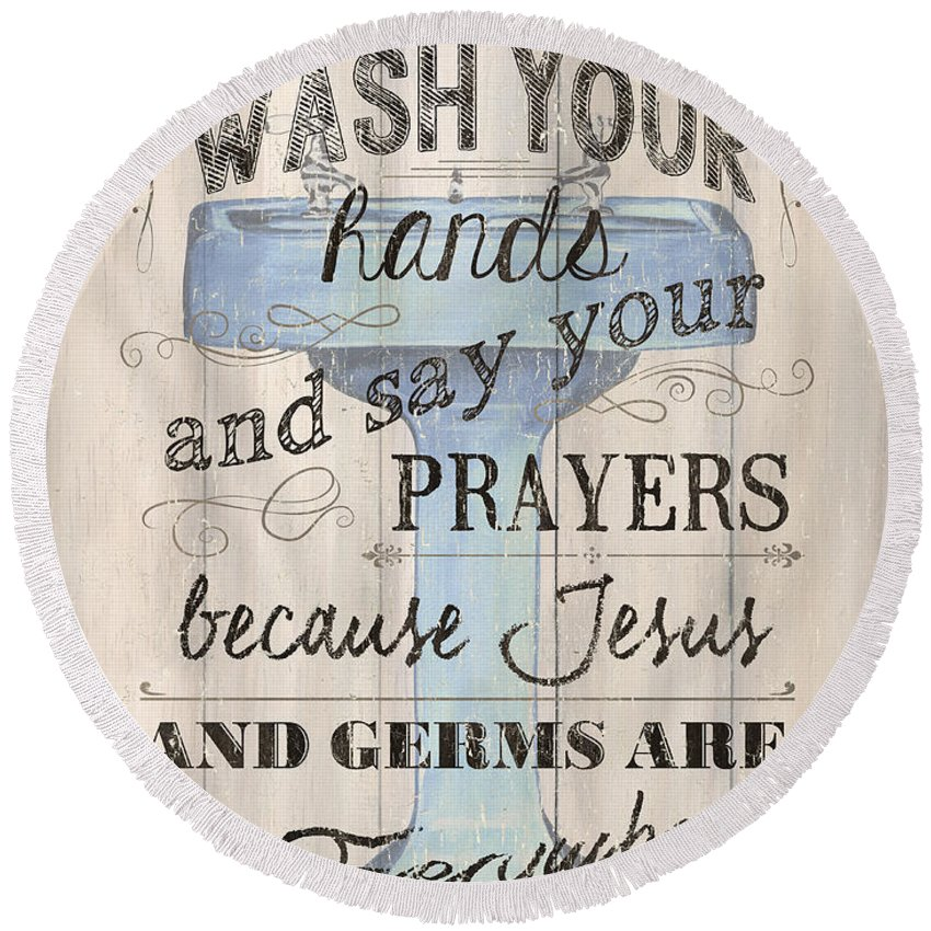 Bath Round Beach Towel featuring the painting Wash Your Hands by Debbie DeWitt