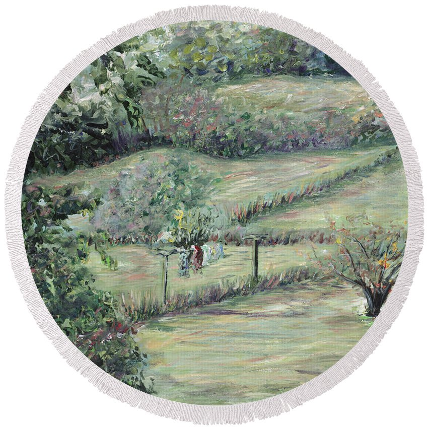 Landscape Round Beach Towel featuring the painting Washday In Provence by Nadine Rippelmeyer