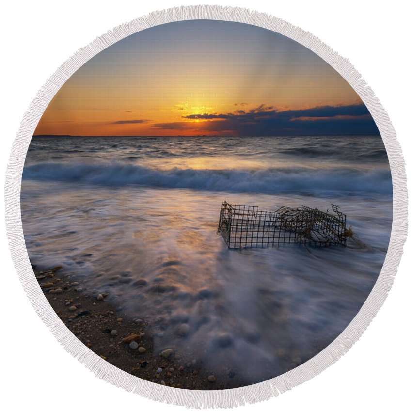 Sandy Hook Round Beach Towel featuring the photograph Washed Up Crab Trap by Michael Ver Sprill
