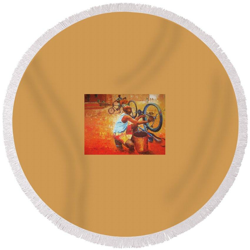 Figure Round Beach Towel featuring the painting Washing My Bike by Lawani Sunday
