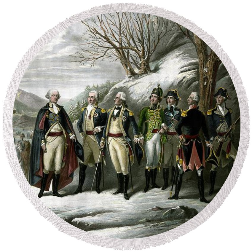 George Washington Round Beach Towel featuring the painting Washington and His Generals by War Is Hell Store