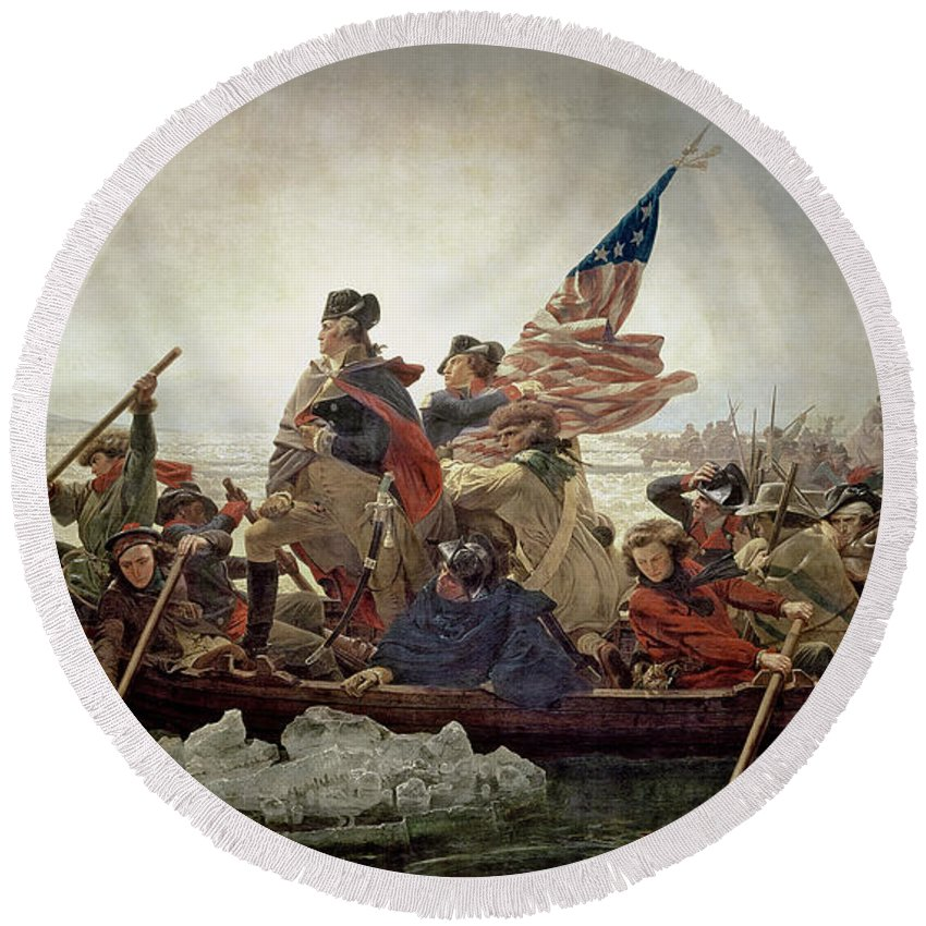 Washington Round Beach Towel featuring the painting Washington Crossing The Delaware River by Emanuel Gottlieb Leutze